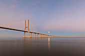 Vasco da Gama bridge in Lisbon to the supermond