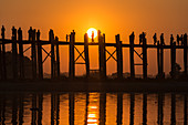 The longest teak bridge, the U-Bein bridge in Mandalay, Myanmar