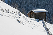 A snow-covered landscape in Alpbach, Tyrol