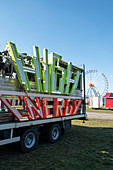 Truck with driving business for the Oktoberfest, Theresienwiese, Munich, Bavaria Germany