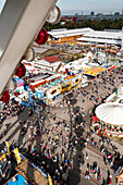 View from the ferris wheel to the Oktoberfest in Munich with shadow, Bavaria, Germany