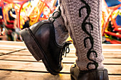 Haferlschuhe and embroidered socks on the Oktoberfest in Munich, Bavaria, Germany