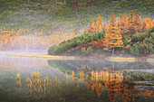 Foggy morning at the lake, Magadan region, Russia