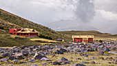 View of the houses of Tambopaxi Lodge in Cotopaxi National Park, Ecuador.