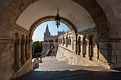 The Fisherman's Bastion in Budapest, Hungary. View from the archway to the tower