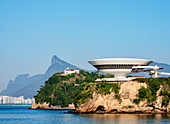 View towards Niteroi Contemporary Art Museum, Corcovado Mountain and Pedra da Gavea, Niteroi, State of Rio de Janeiro, Brazil, South America