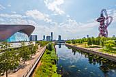 Views of Orbitz and London Aquatic Centre over Three Mills River, Queen Elizabeth Park, Stratford, London, England, United Kingdom, Europe