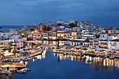 Lake Voulismeni and Port of Agios Nikolaos, Crete Island, Greek Islands, Greece, Europe