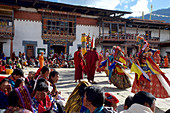 Spectators and dancers at Mask Dance, festival at Gangteng Monastery, Phobjikha Valley, Bhutan, Himalayas, Asia