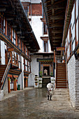 Rain in the courtyard in the Jakar Dzong in the Chamkhar Valley, Bumthang, Bhutan, Himalayas, Asia