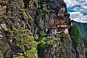 The monastery Taktshang or Taktsang or Tigernest in a rock wall, Buddhist monastery in the Parotal, Bhutan, Himalayas, Asia