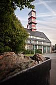 Mine car at the Förrder tower of the Arno-Lippmann shaft, UNESCO World Heritage Montanregion Erzgebirge, Altenberg-Zinnwald, Saxony