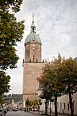 Kirchturm der Sankt Annenkirche, UNESCO Welterbe Montanregion Erzgebirge, Annaberg, Sachsen