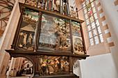 Bergbau Altar in Sankt Annenkirche, UNESCO Welterbe Montanregion Erzgebirge, Annaberg, Sachsen