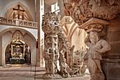 Bergmannskanzel und Tulpenkanzel im Freiberger Dom St Marien, UNESCO Welterbe Montanregion Erzgebirge, Freiberg, Sachsen