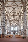 Central nave and cross-vault in St Wolfgang's church, historic old town Schneeberg, UNESCO World Heritage Montanregion Erzgebirge, Schneeberg, Saxony