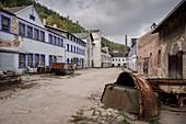 Blue paint plant Schindler's work near Zschorlau, UNESCO World Heritage Montanregion Erzgebirge, Schneeberg, Saxony