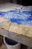 Blue color particles extracted from cobalt ore, Blindarbenwerk Schindler's work, UNESCO World Heritage Montanregion Erzgebirge, Schneeberg, Saxony