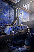 Factory hall with blue paint, blue paint plant Schindler's work near Zschorlau, UNESCO World Heritage Montanregion Erzgebirge, Schneeberg, Saxony