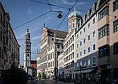 View to the Perlachturm and Rathaus, UNESCO World Heritage. Historical Wasserwirtschaft, Augsburg, Bavaria, Germany