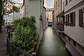 View over Hinterer Lech Canal to the Brechthaus, UNESCO World Heritage Historic Water, Augsburg, Bavaria, Germany