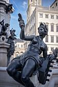 Fountain statue Sinngold, historic Augustus fountain at Rathaus Platz, UNESCO world heritage historical water management, Augsburg, Bavaria, Germany