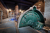 Generator in the power plant Langweid (Lechmuseum Bayern), UNESCO world heritage historical water management, Augsburg, Bavaria, Germany