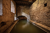 Lech Canal at the water tower at the Red Gate, UNESCO World Heritage Historic Water, Augsburg, Bavaria, Germany