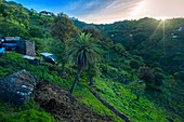 Cape Verde, Santiago Island, green valley, mountains, Local architecture, farm