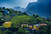 Cape Verde, San Antao Island, Local architecture, green mountains