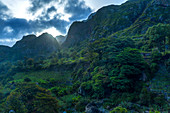 Cape Verde, San Antao Island,  green mountains