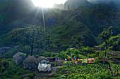 Cape Verde, San Antao Island, aireal shot, farm