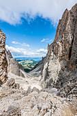 Blick von der Toni Demetz Hütte in die Langkofelscharte, St. Christina in Gröden, Dolomiten, Südtirol, Alto Adige, Italien