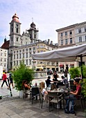 Main square with old cathedral, Linz, Upper Austria, Austria