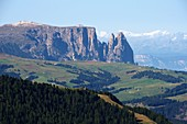 View to the Seiseralm with Schlern to the Brenta, Dolomites, South Tyrol, Italy