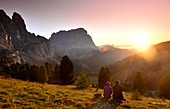 Sunset on the Gardena Pass with Sella Langkofel, Dolomites, South Tyrol, Italy
