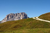 on the Gardena Pass with Langkofel, Dolomites, South Tyrol, Italy
