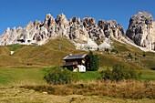 Hut at the Gardena Pass, Dolomites, South Tyrol, Italy