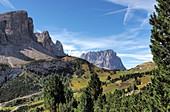 on the Gardena Pass with Langkofel, Alta Badia, Dolomites, South Tyrol, Italy
