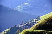 View from Furkelsattel via St.Vigil in Enneberg on Val Badia, Dolomites, South Tyrol, Italy