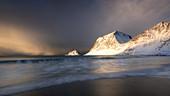 Haukland Beach, Lofoten, Nordland, Norwegen, Europa