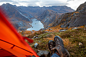 Wild camping on the top of Sgurr Na Stri looking towards Loch Coruisk and the main Cuillin ridge, Isle of Skye, Inner Hebrides, Scotland, United Kingdom, Europe