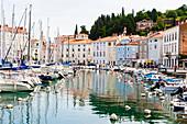 Historischer Hafen mit Booten, Piran, Slowenien, Europa