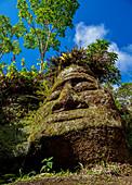 Gesichtsskulptur in Tufffelsen, Asilo de la Paz, Insel Floreana Hochland (Charles), Galapagos, UNESCO Weltkulturerbe, Ecuador, Südamerika