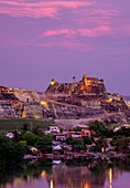 San Felipe Castle at sunset, UNESCO World Heritage Site, Cartagena, Bolivar Department, Colombia, South America