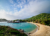 El Cabo San Juan del Guia beach, elevated view, Tayrona National Natural Park, Magdalena Department, Caribbean, Colombia, South America