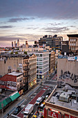 Sunrise over the Soho district of New York City looking towards the development of Hudson Yards skyscrapers, New York, United States of America, North America