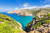 Strand von Cala Domestica von oben, Provinz Iglesias, Sud Sardegna, Sardinien, Italien, Mittelmeer, Europa