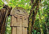 Präkolumbianische Skulptur, Archäologischer Park San Agustin, UNESCO-Welterbestätte, Department Huila, Kolumbien, Südamerika
