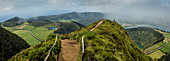 High angle view of path on remote hilltop, overlook Crater Lakes, Sao Miguel, Portugal